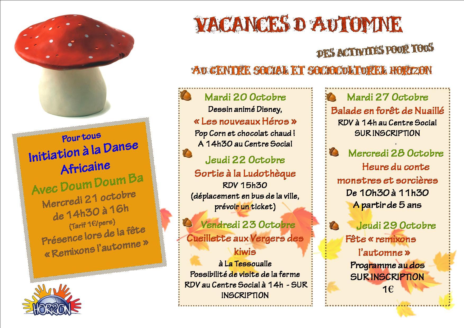 Vacances d automne centre social et socioculturel Vacances automne 2015