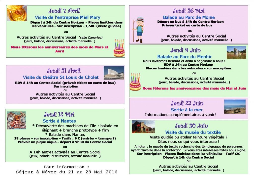 programme avril à juin2016